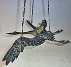 Antique Japanese Hanging Bronze Crane/Sage Incense Burner C.1970