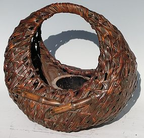 Antique Japanese Early Showa Period C.1935 Bamboo Flower Basket