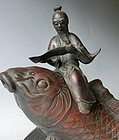 Antique Japanese Large Bronze Sage Riding Carp Incense Burner C.1910