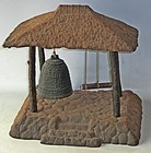 Antique Japanese Tea Ceremony Iron Bell Hut C.1950