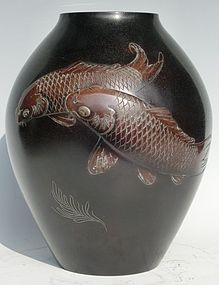 Antique Japanese Bronze Carp Vase Signed Shizan C.1940