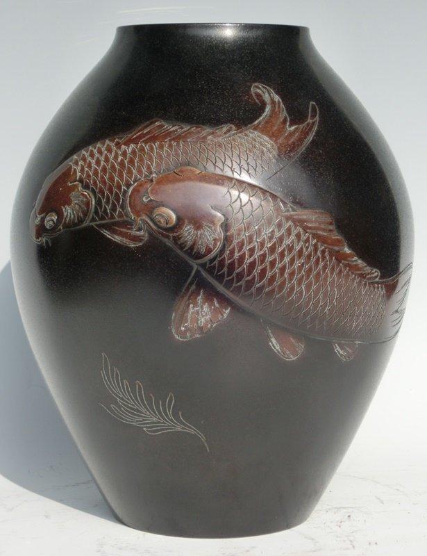 Antique Japanese Bronze Carp Vase Signed Shizan C.1940