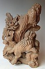 Antique Japanese Zelkova Wood Shishi Lion Carving C.1935