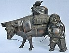 Antique Japanese Bronze Daikoku, Treasure Bag and Cow Tethered C.1930