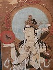 Antique Japanese Edo Yatagarasu Kannon Painting C.1850