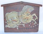 Antique Japanese Meiji Period Shrine Votive Painting C.1900