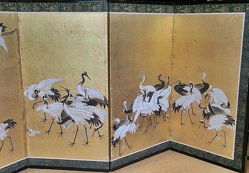 Antique Japanese 6 panel Cranes Screen Painting C.1875