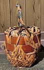 Antique Japanese Style Bamaboo Flower Basket