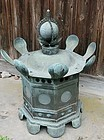 Antique Japanese Huge Meiji Period C.1910 Bronze Temple Lantern