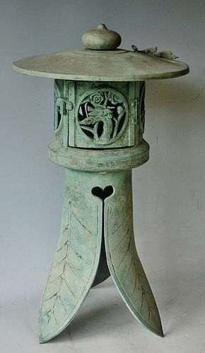 Antique Japanese Cicada Bronze Garden Lantern