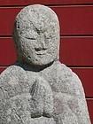 Antique Japanese Granite Sitting Jizo Buddha C. 1890