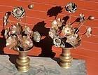 Antique Japanese Pair Copper  C.1930 Buddhist Altar Flowers
