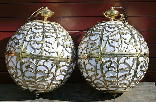 Antique Japanese Pair Brass Globe Buddhist Altar Lamps