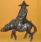 Antique Japanese Bronze Zen Sage on Horse c.1890