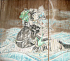 Antique Meiji Period 1897 Genji Samurai Shrine Painting