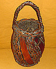 Splendid Antique Japanese Bamboo Flower  Basket c.1910