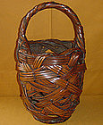 Antique Japanese Meiji c.1900 Bamboo Flower Basket