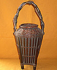 Japanese Antique Meiji Period Bamboo Flower Basket
