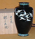 Antique Japanese Taisho Period Cloisonne Crane Vase