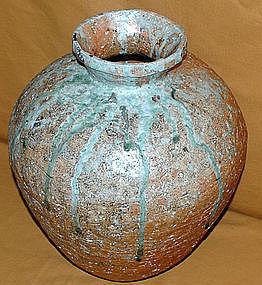 Antique Japanese Shigaraki Ceramic Tsubo c.1920