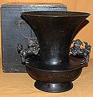 Antique Japanese Meiji Period Bronze Flower Vase