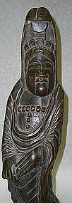 Japanese Antique Goddess of Mercy  Carving, Edo Period