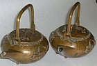 Elegant Japanese Antique Bronze Sake Pourers C. 1920
