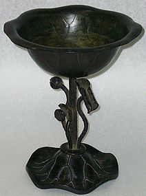Superb Antique Japanese Bronze Temple Water Vase
