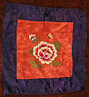 Purple and Orange Embroidered Bojagi with Peonies