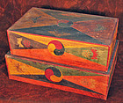 Pair of Wood Boxes with Applied Hand-Cut Paper Design