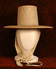 Korean White Mourning Hat of Linen and Bamboo