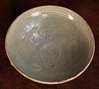 13th Century Celadon Bowl with Inlaid Chrysanthemums