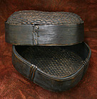 Antique Korean Woven Bamboo Basket with Fine Details