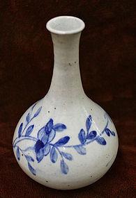 19th Century Blue and White Porcelain Peony Bottle