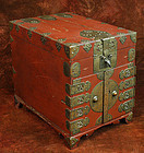 Red Lacquered Safe with Finely Detailed Brasswork