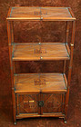 Rare Korean Bamboo Takja, Shelves with a Lower Cabinet