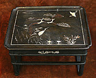 Very Rare Black Lacquered Mother of Pearl Soban Table
