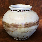 Unique and Rare Red, Brown and White Porcelain Jar
