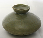 13th Century Celadon Oil Bottle with a Well-Potted Form
