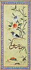 Beautiful Chinese Bird and Flower Embroidered Panel