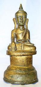 Burmese Buddha w/ Human Face and Primitive Inscription
