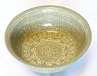 15th C. Buncheong Bowl w/Butterflies and Chrysanthemums