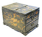 Very Rare Animal Hide Mirror Box with Tortoise Shell
