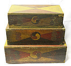 Set of 3 Sewing Boxes Lined with Rare Budok Talismans