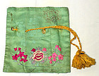 Lovely Antique Embroidered Lady's Pouch with Flowers