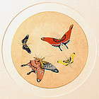 Colorful 19th Cent. Korean Folk Painting of Butterflies
