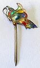 Multi-Colored Enamel Butterfly-in-Flight Hair Pin