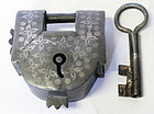 Chinese Qing Dynasty Inlaid Silver Iron Lock and Key