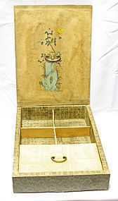 Antique Korean Box with Butterfly and Flowers