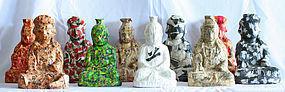 Bodhisattva by Kim Dae Shik, Set of Ten Paper on Wood Sculpture